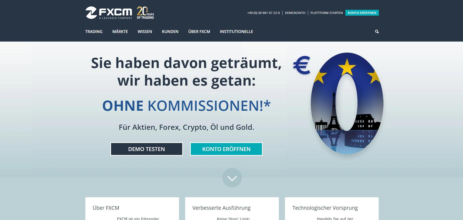 Webseite von FXCM