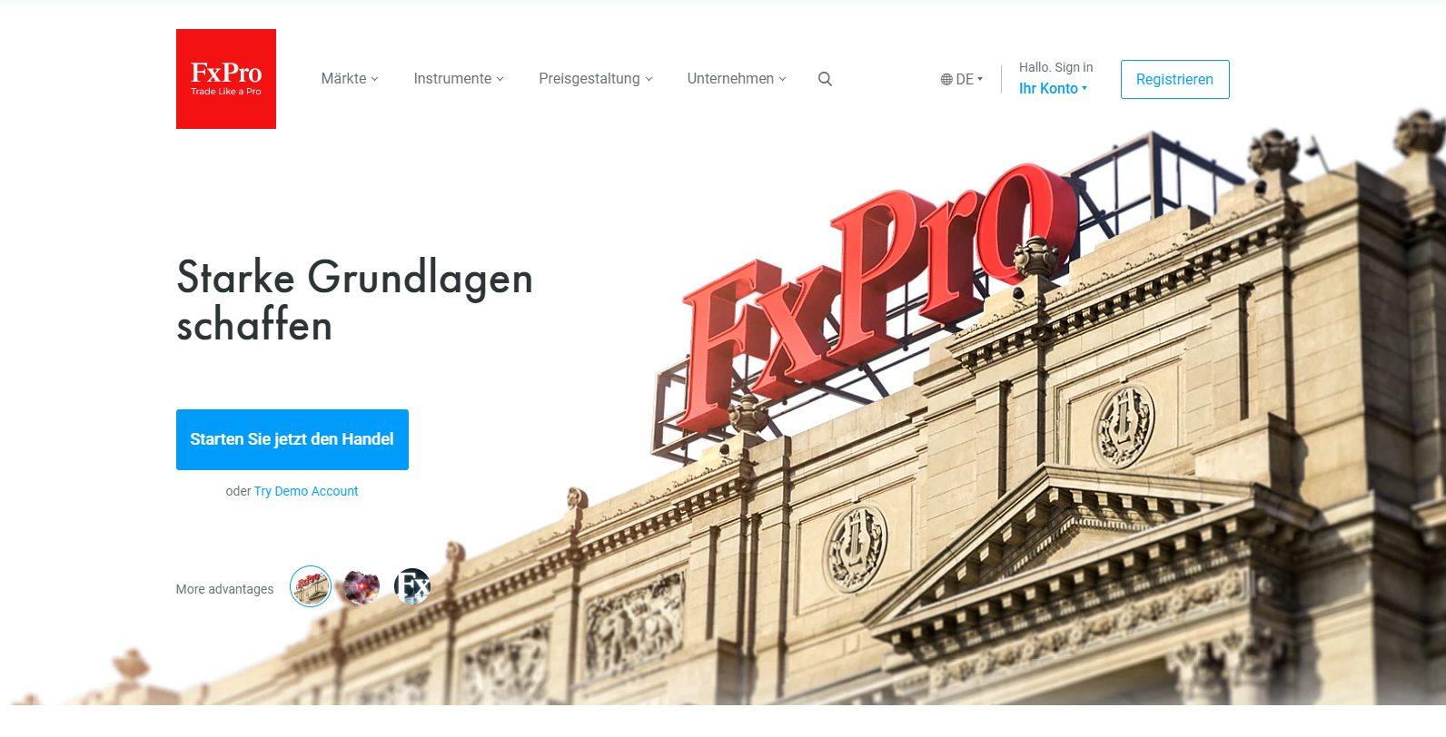 Webseite von FxPro (Screenshot)