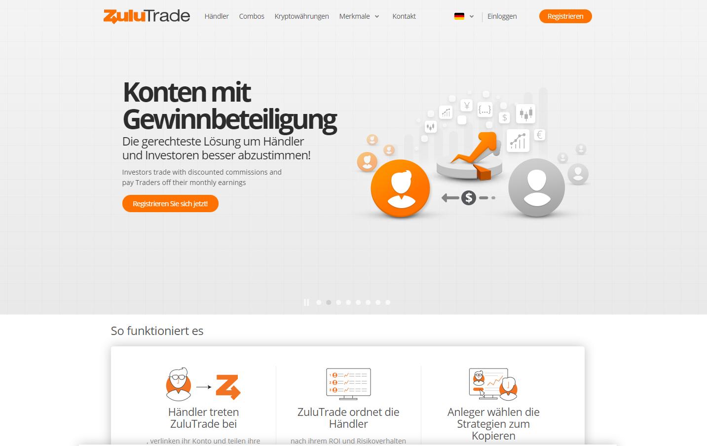ZuluTrade Website Screenshot