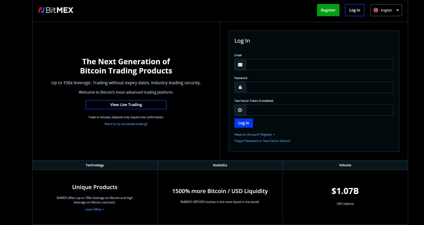 BitMex Webseite