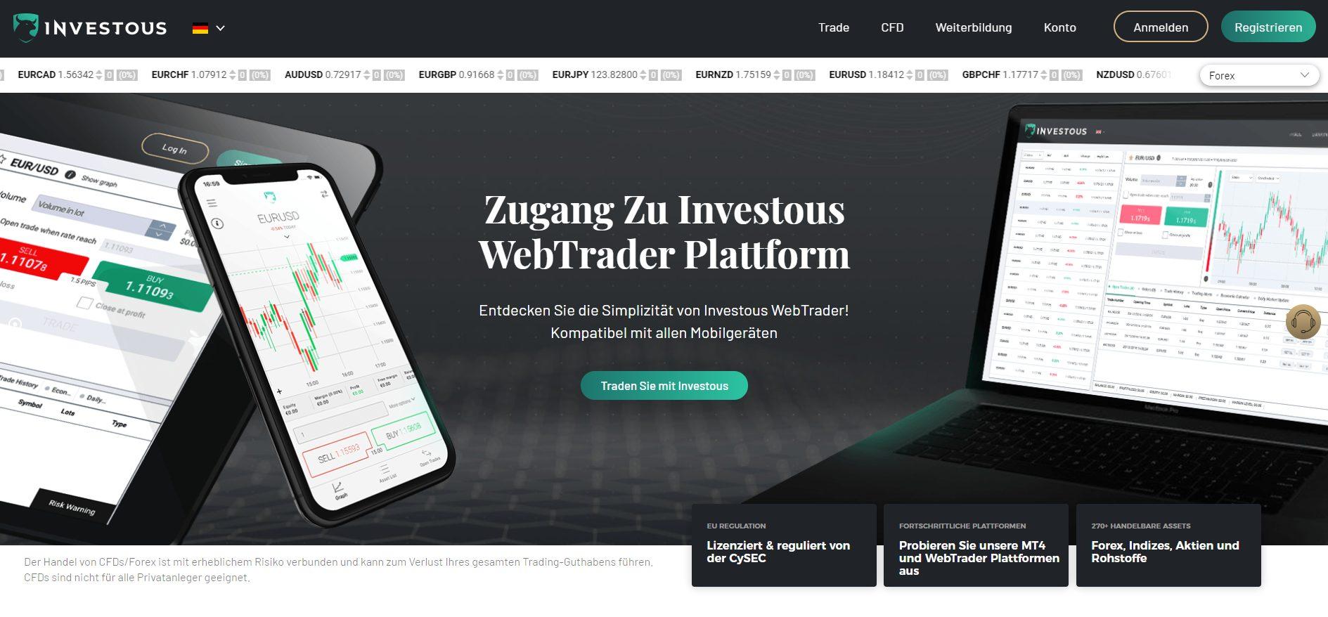 Investous Webseite