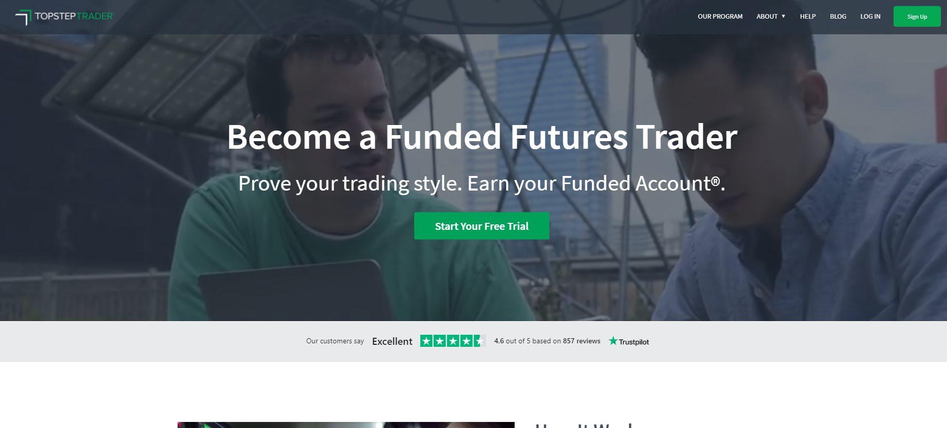 TopstepTrader Webseite
