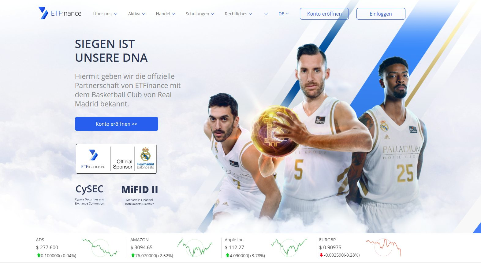 Webseite von ETFinance