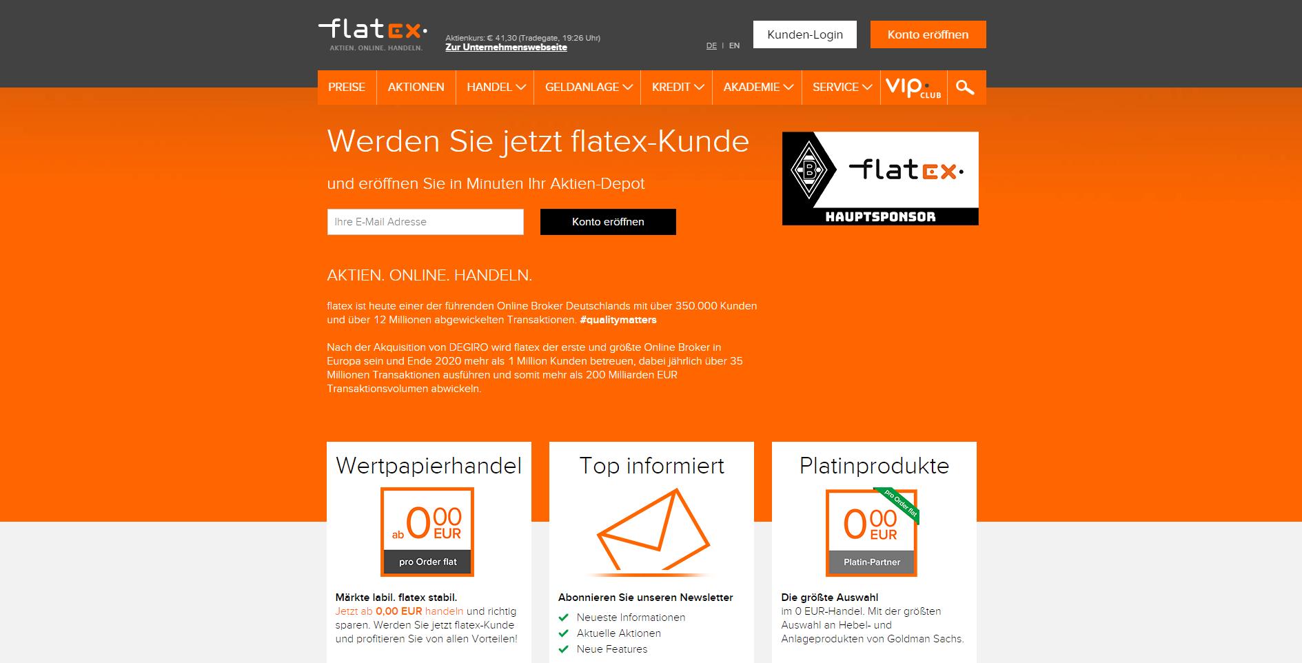 Webseite von Flatex