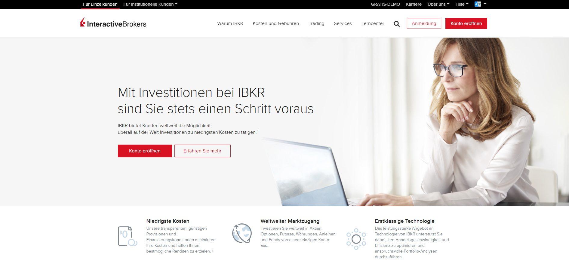 Webseite von Interactive Brokers