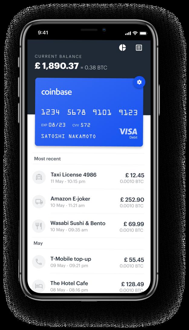 Coinbase virtuelle Karte zum bezahlen