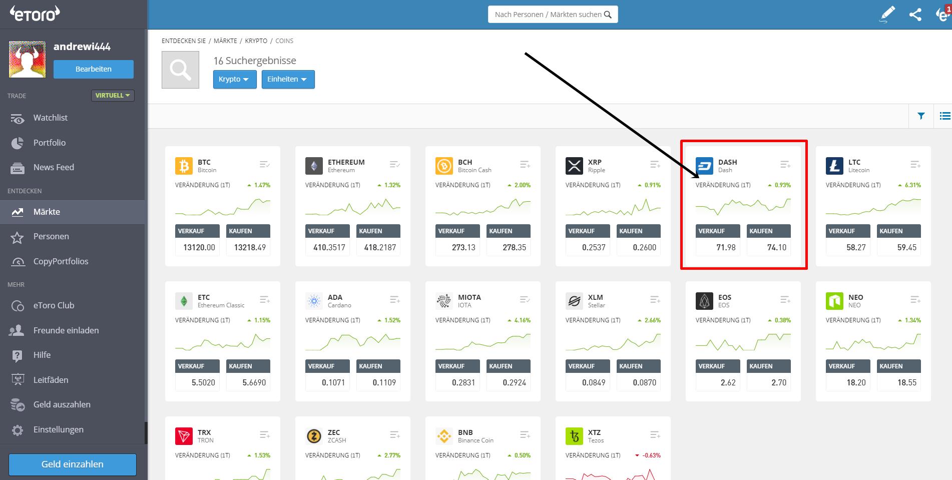 Dash Trading in der Plattform