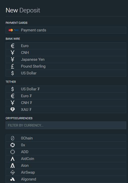 Es gibt sehr viele Einzahlungsmethoden bei Bitfinex