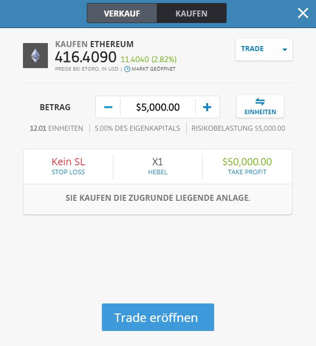Ethereum Trade eröffnen