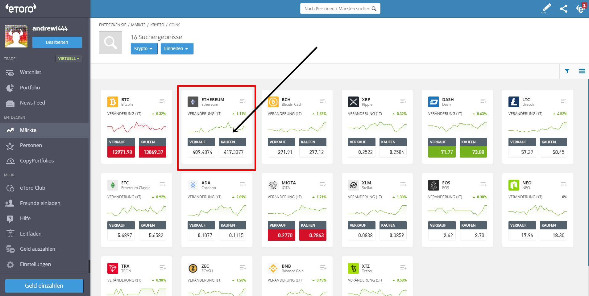 Ethereum Trading in der Plattform
