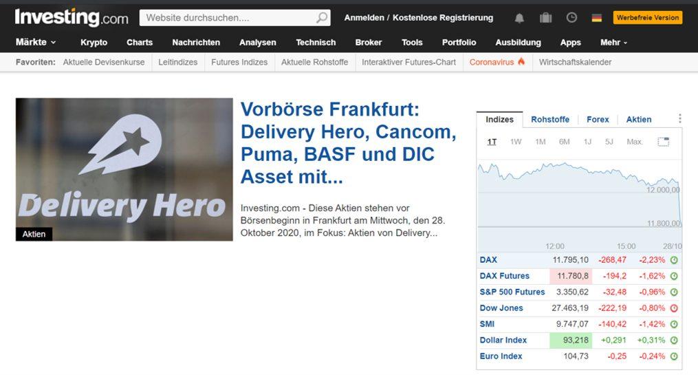 Investing.com Website Screenshot