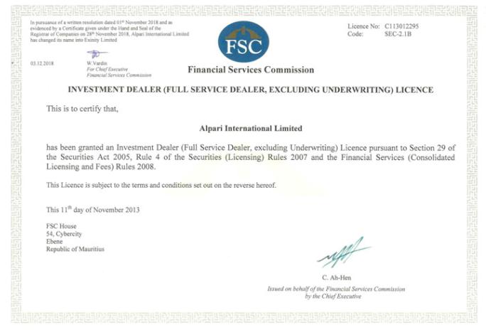 Investment Dealer Lizenz von Alpari in Mauritius