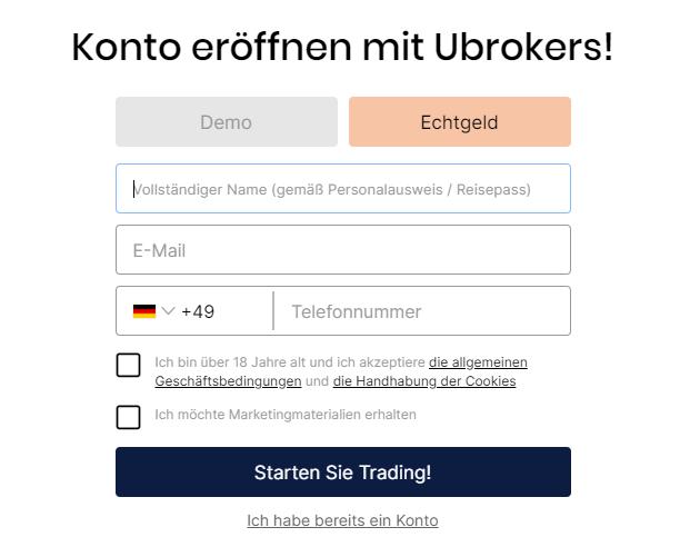 Kontoeröffnung bei Ubrokers