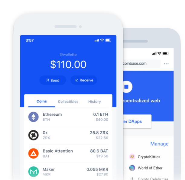 Kryptowährungen Speichern per mobilen Coinbase App