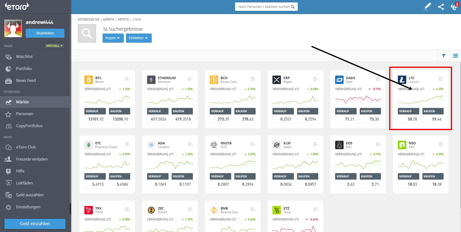 Litecoin Trading in der Plattform