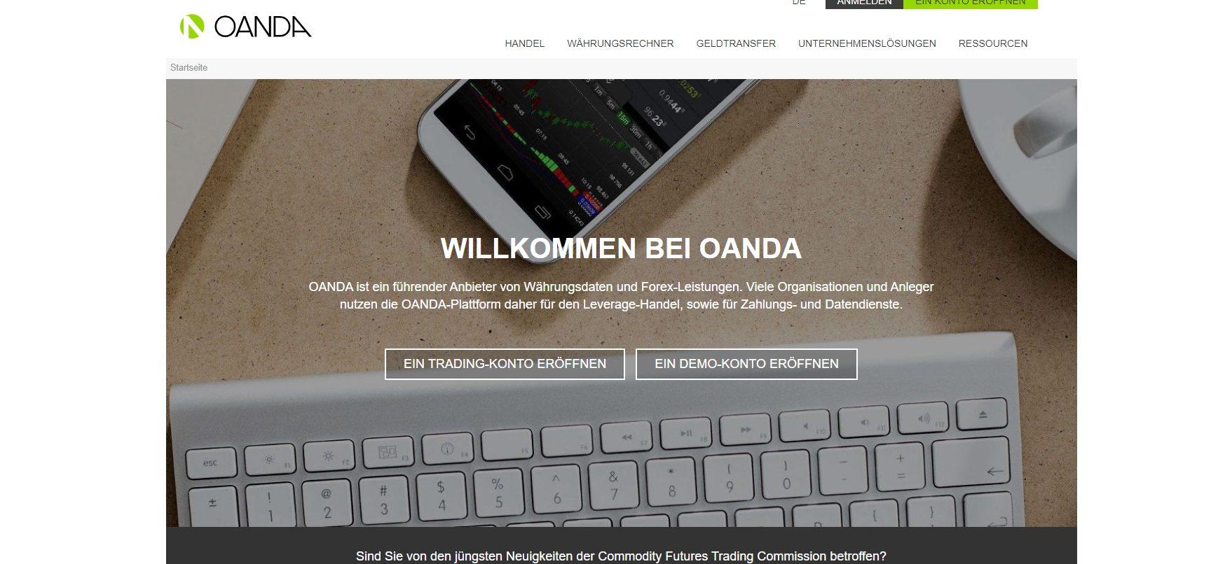 Oanda Webseite