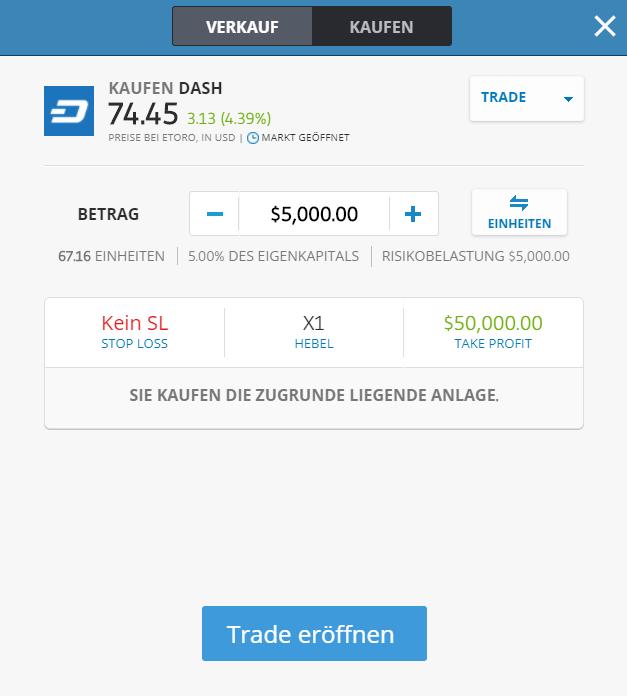 Ordermaske für das Dash Trading