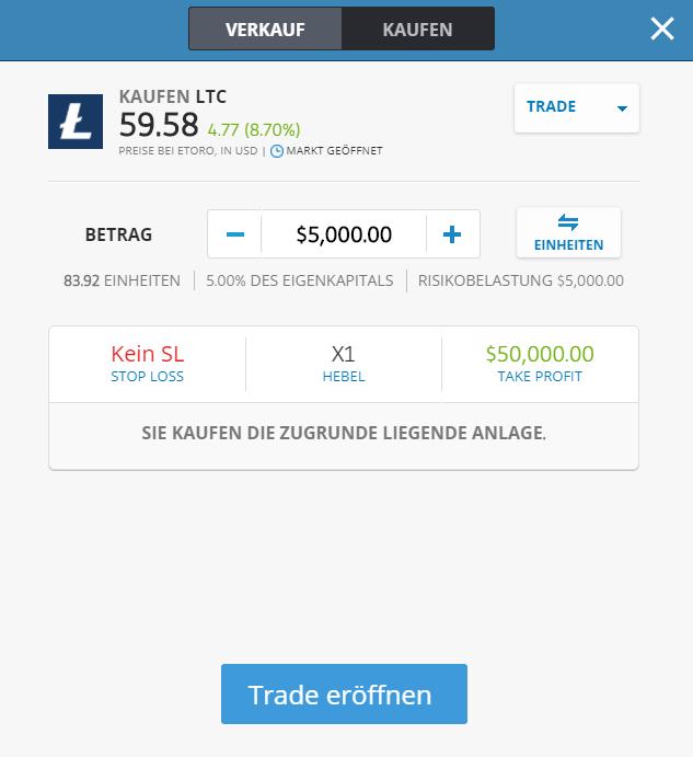 Ordermaske für das Litecoin Trading