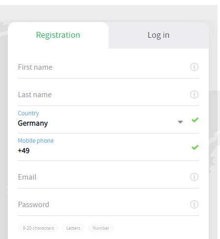 Registrierung mit Alpari