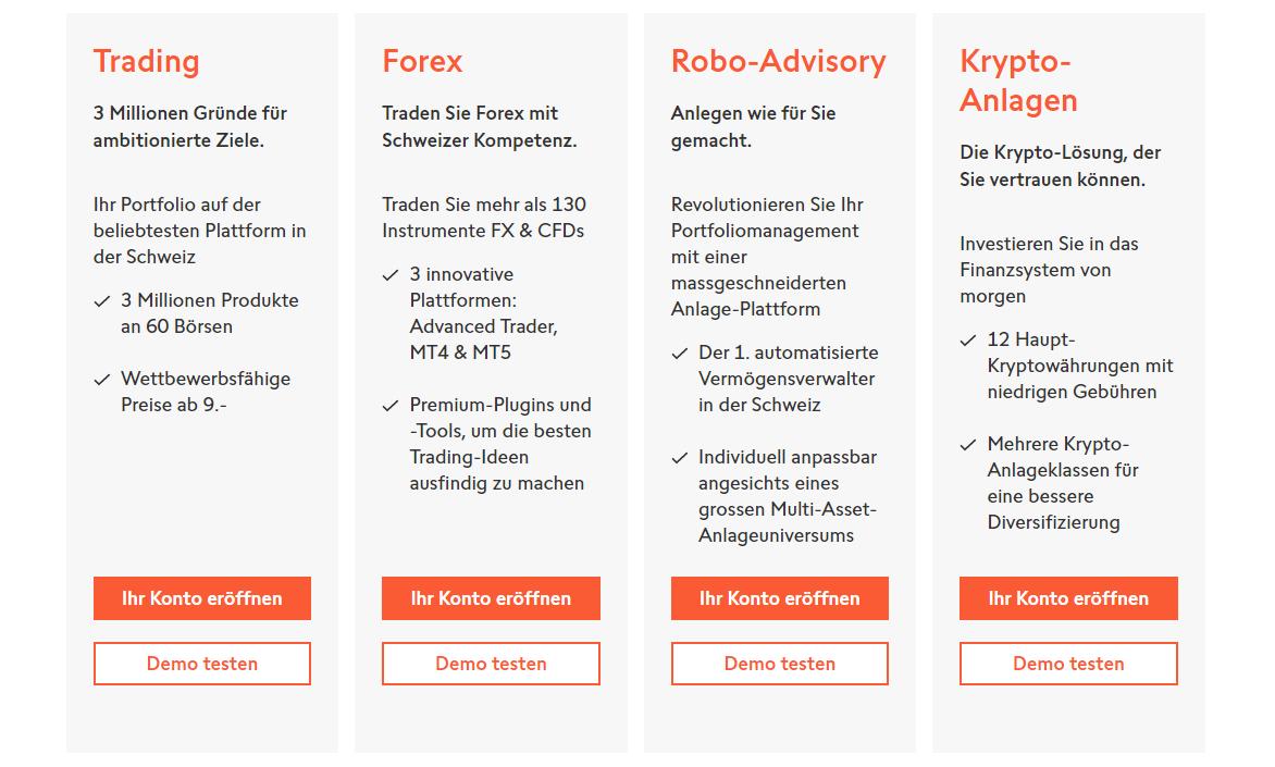 Swissquote Kontotypen