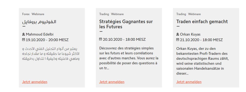 Trading Webinare von Swissquote in verschiedenen Sprachen