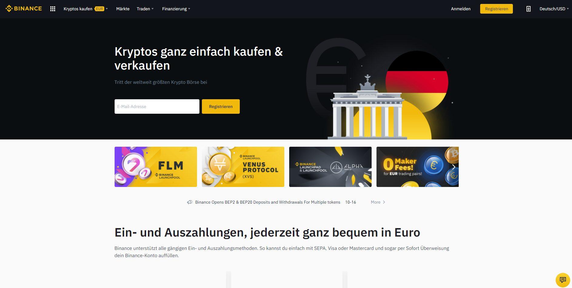 Webseite von Binance