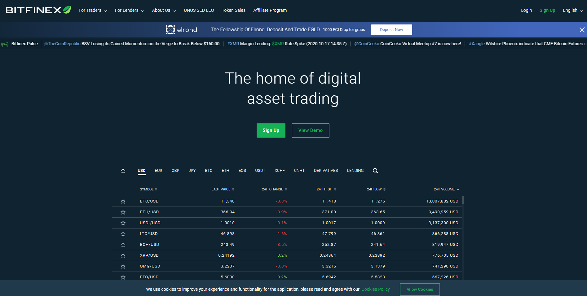 Webseite von Bitfinex