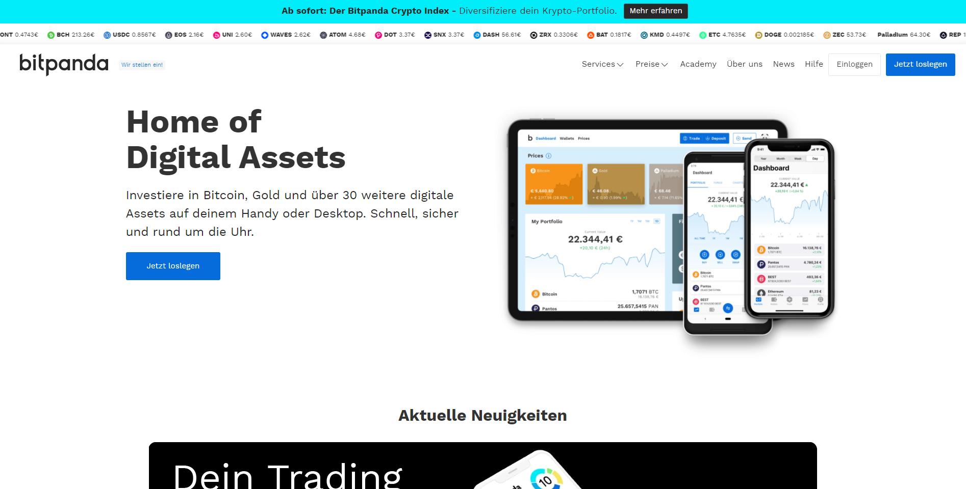 Webseite von Bitpanda