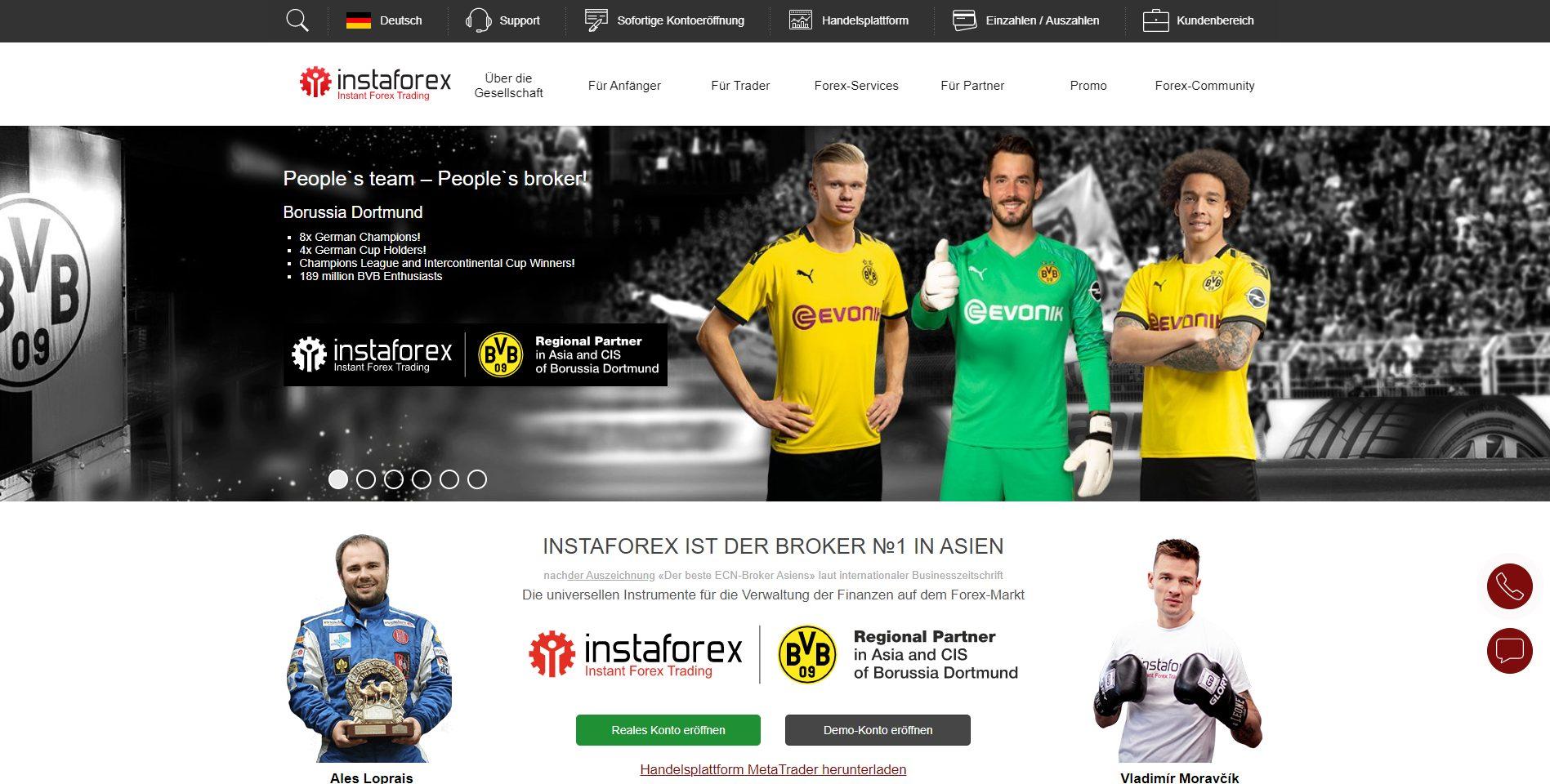 Webseite von InstaForex
