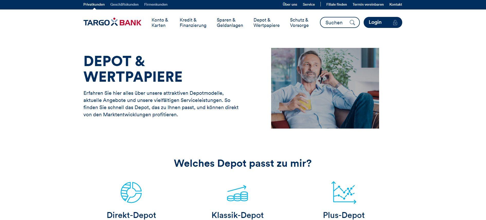 Webseite von Targobank Depot