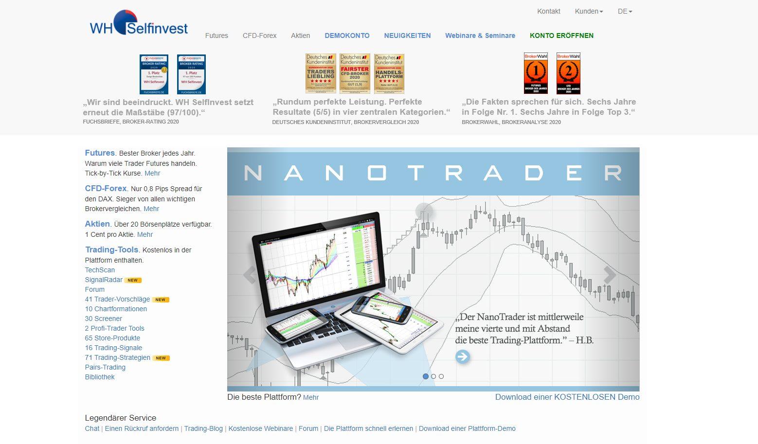 Webseite von WH Selfinvest