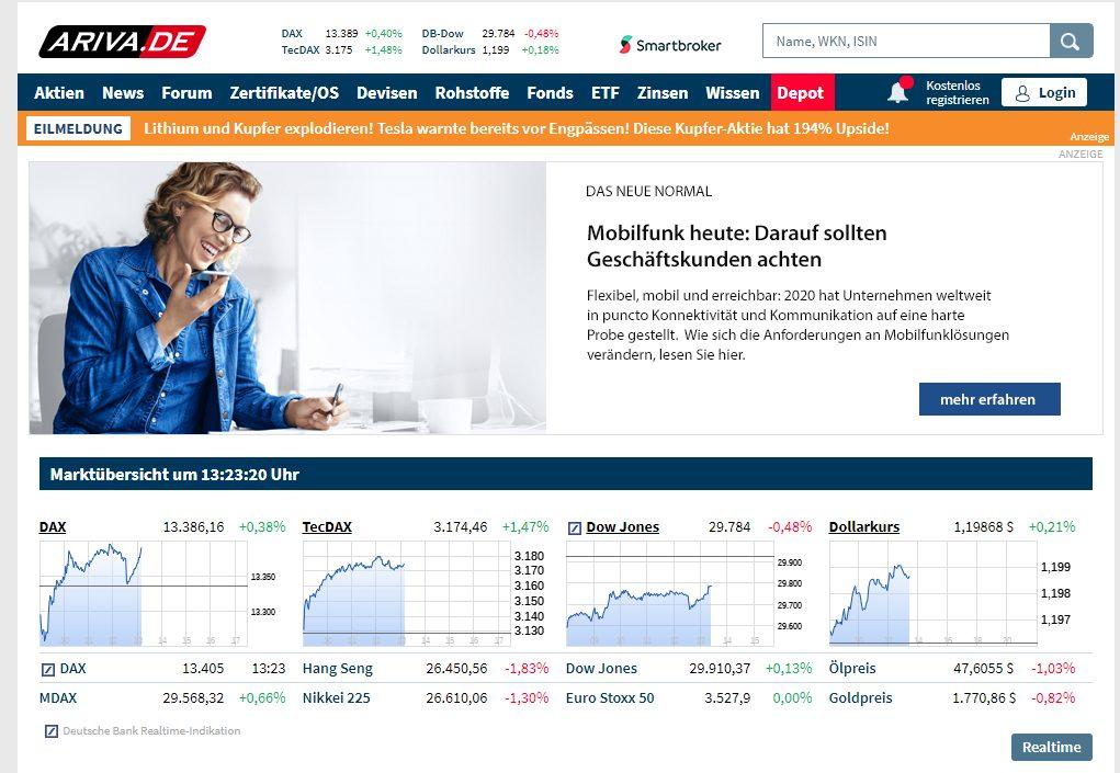 Ariva.de Webseite Screenshot