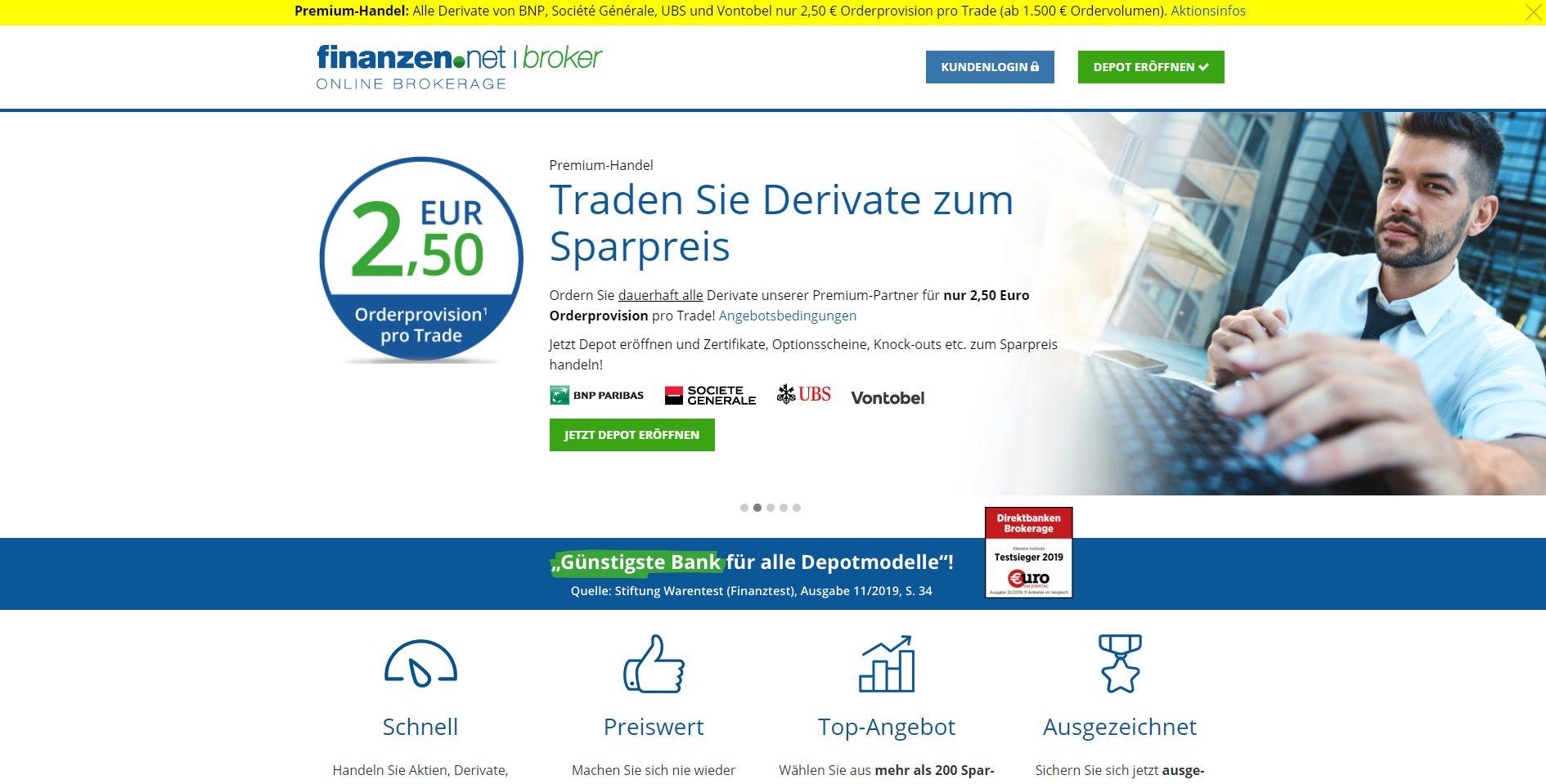 Finanzen.net Broker Webseite