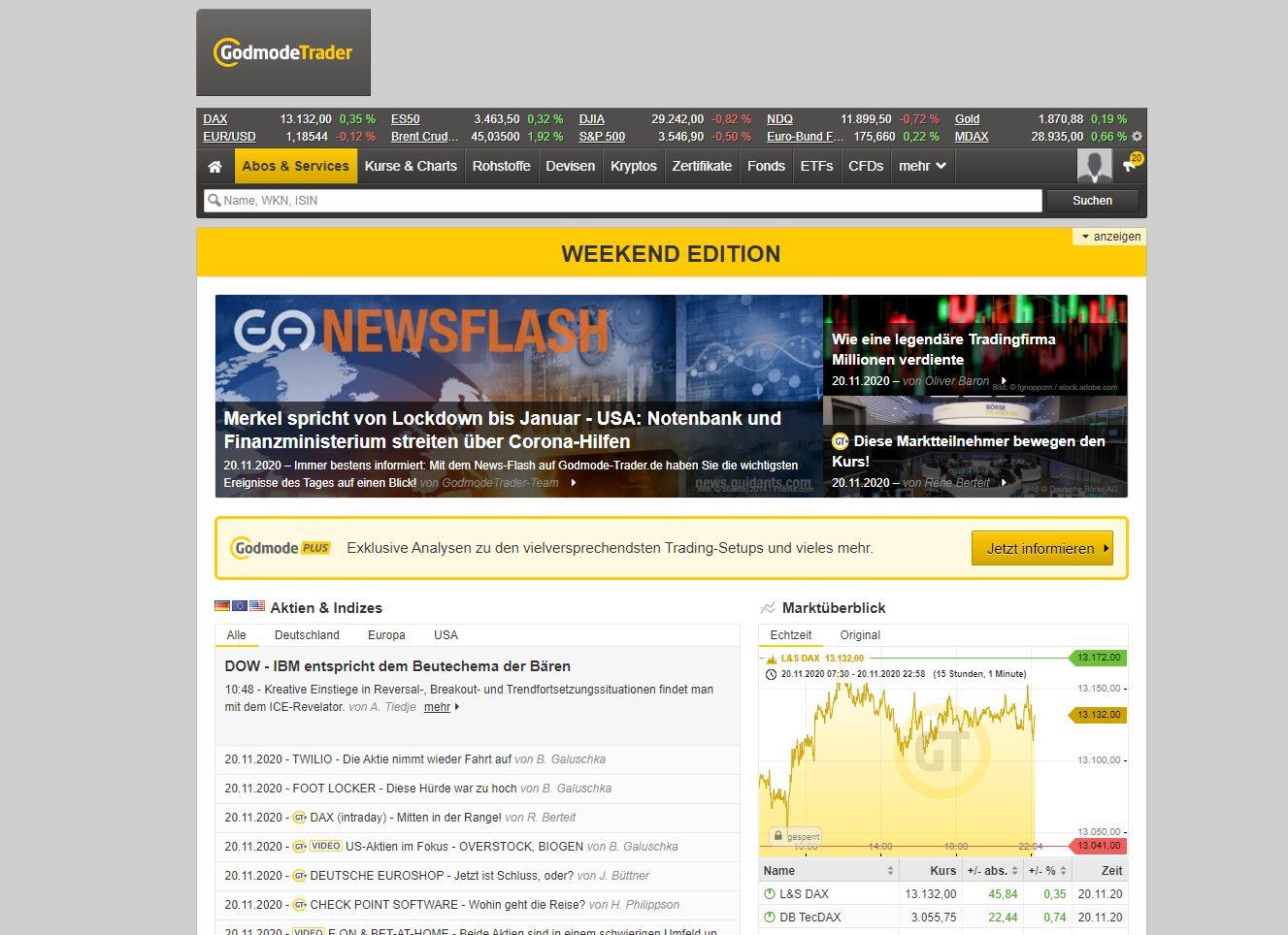 GodmodeTrader Webseite