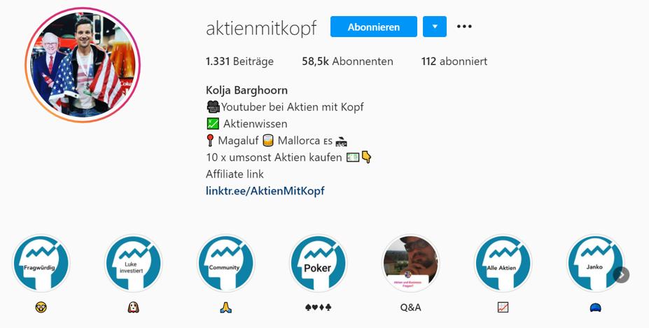 Instagram Aktien mit Kopf Screenshot