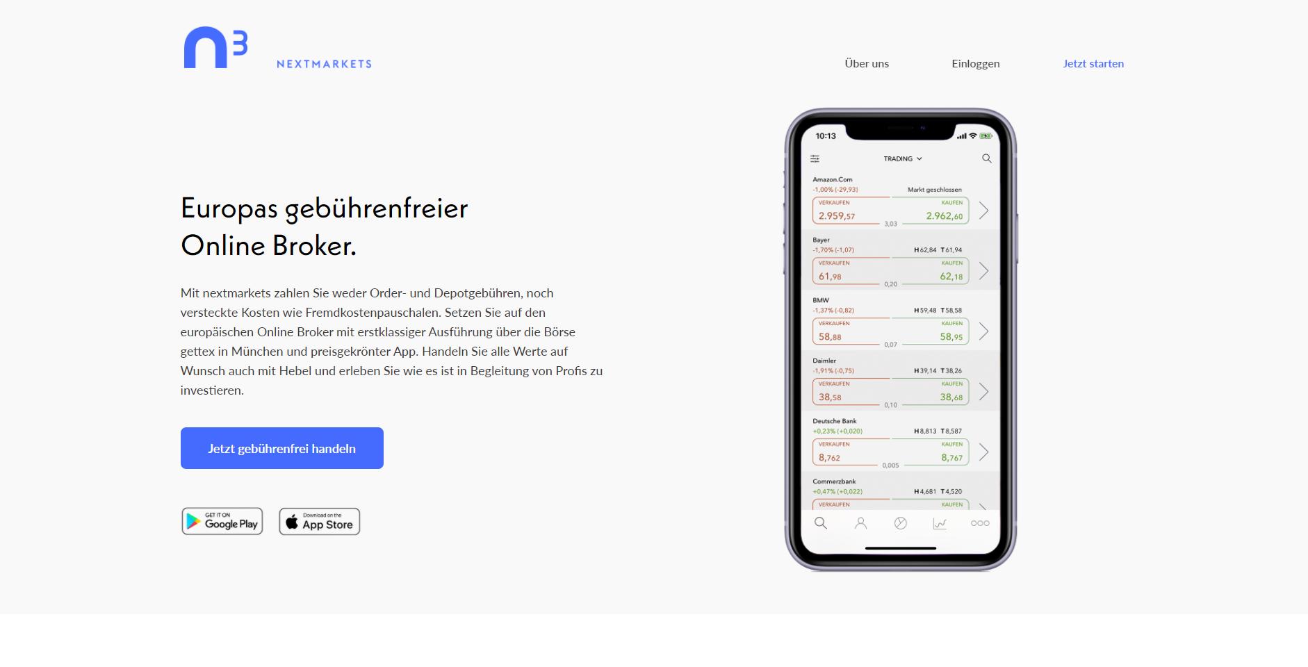 NextMarkets Webseite Screenshot