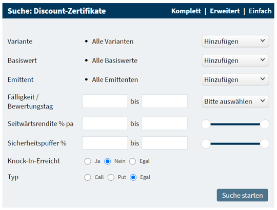 Suche Discount-Zertifikate