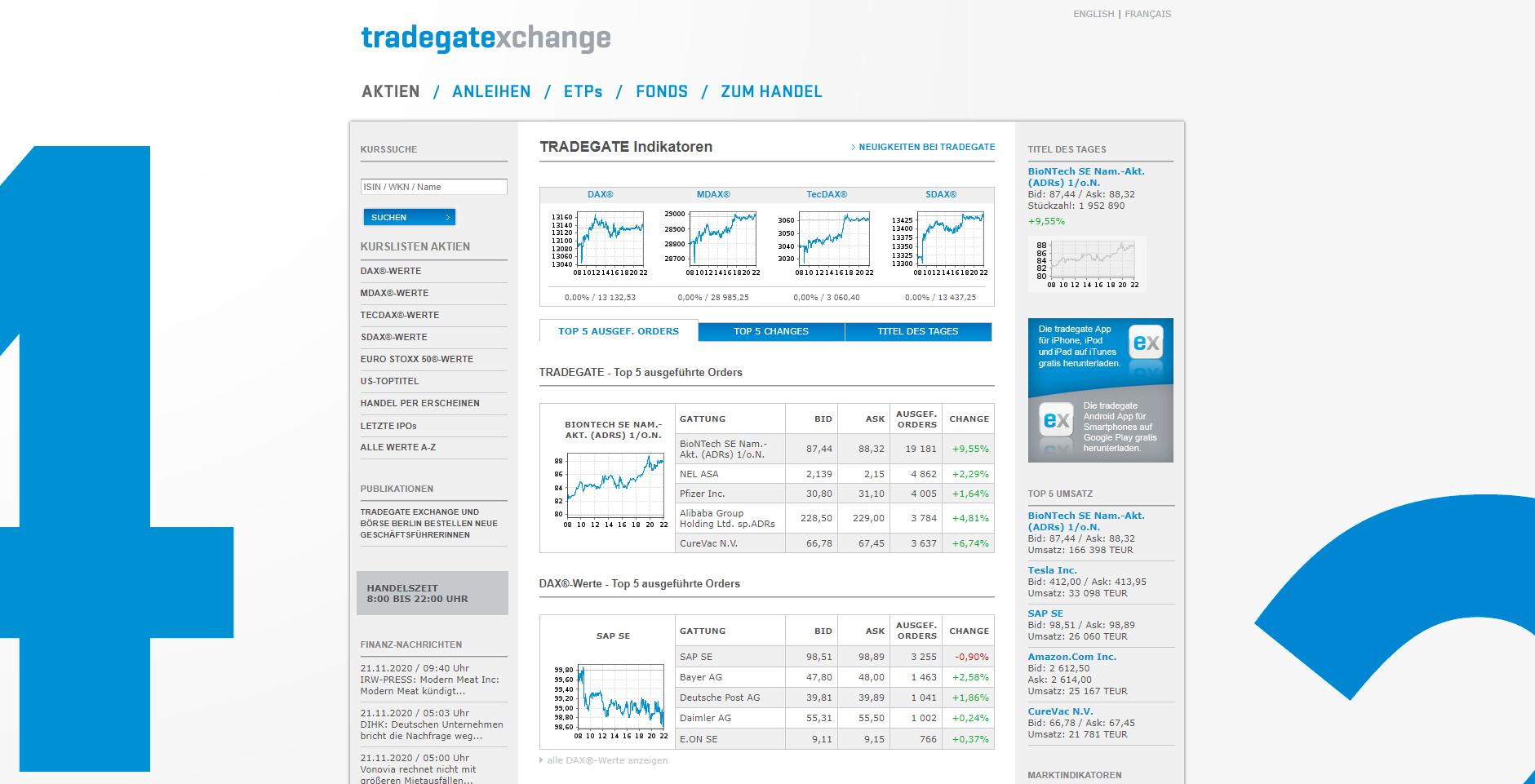 Tradegate Exchange Webseite