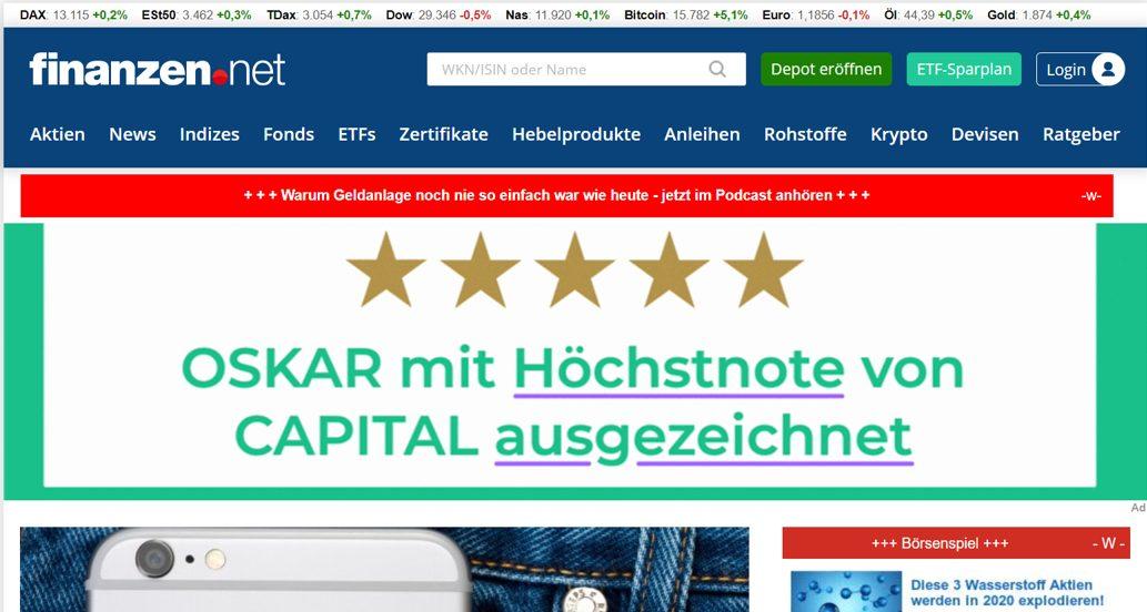 Website Screenshot Finanzen.net