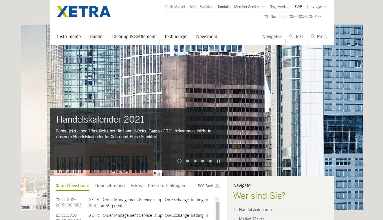 XETRA Webseite