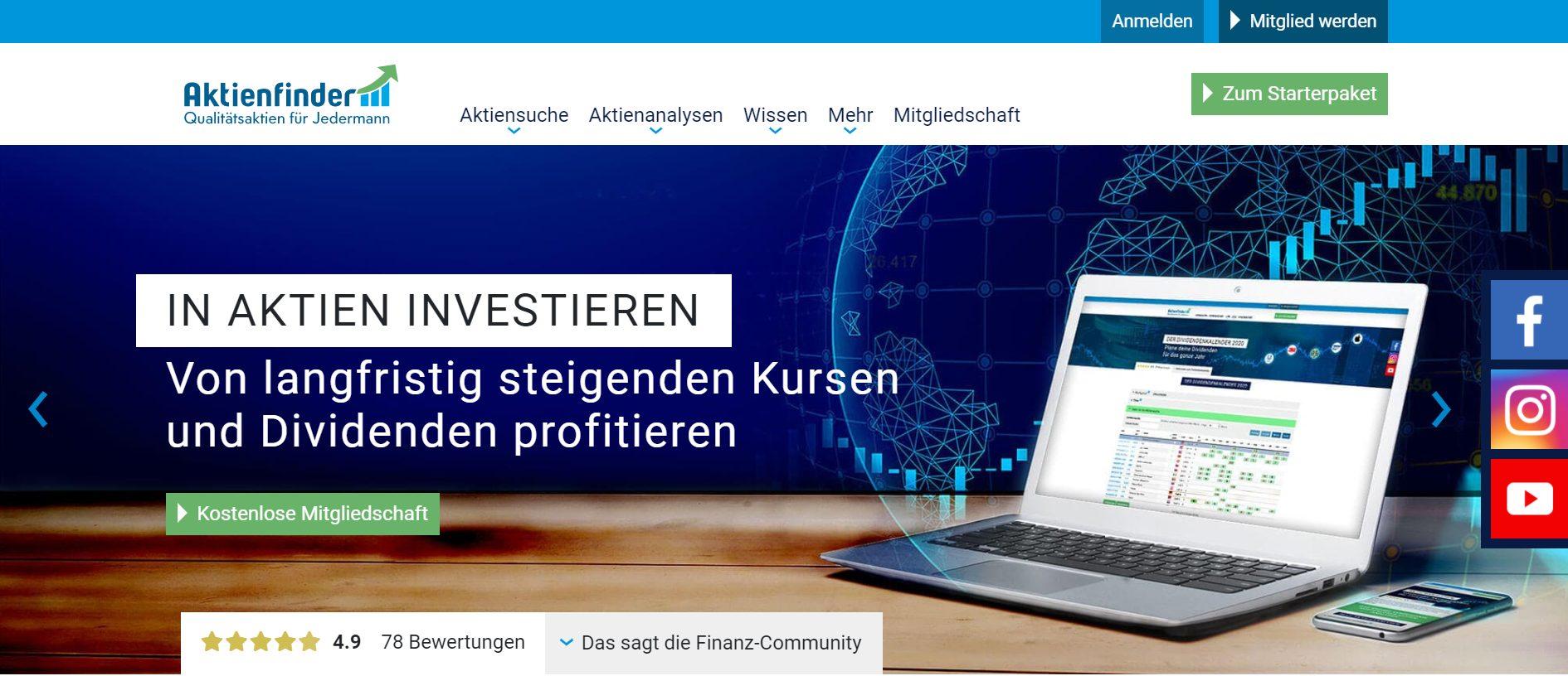 Aktienfinder.net Screenshot Website