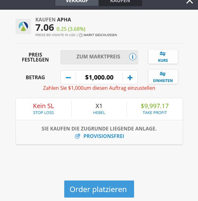 Aphria Cannabis Aktien traden eToro