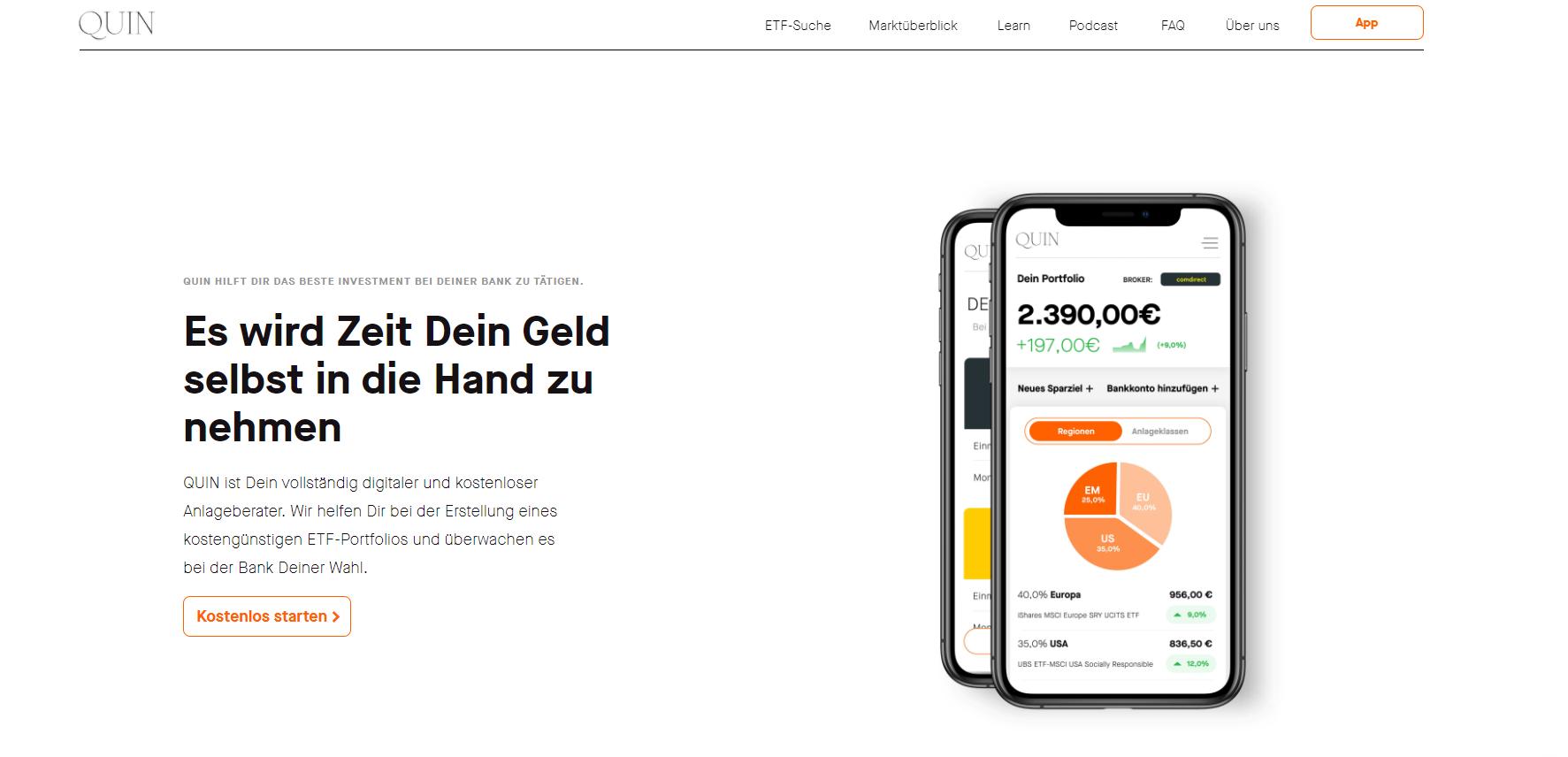 Die Webseite von Quin