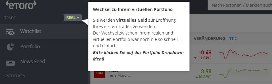 Demokonto eToro Virtuell