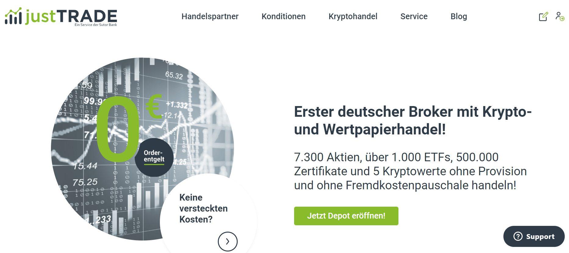 justTRADE Website Screenshot
