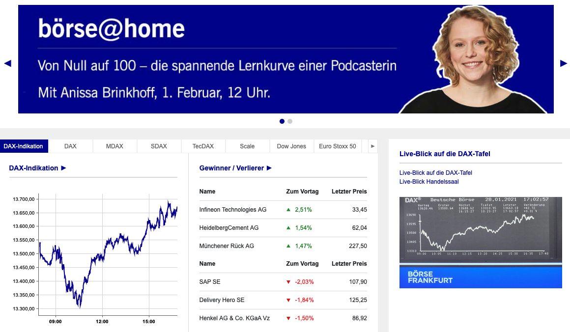 Börse Frankfurt Webseite