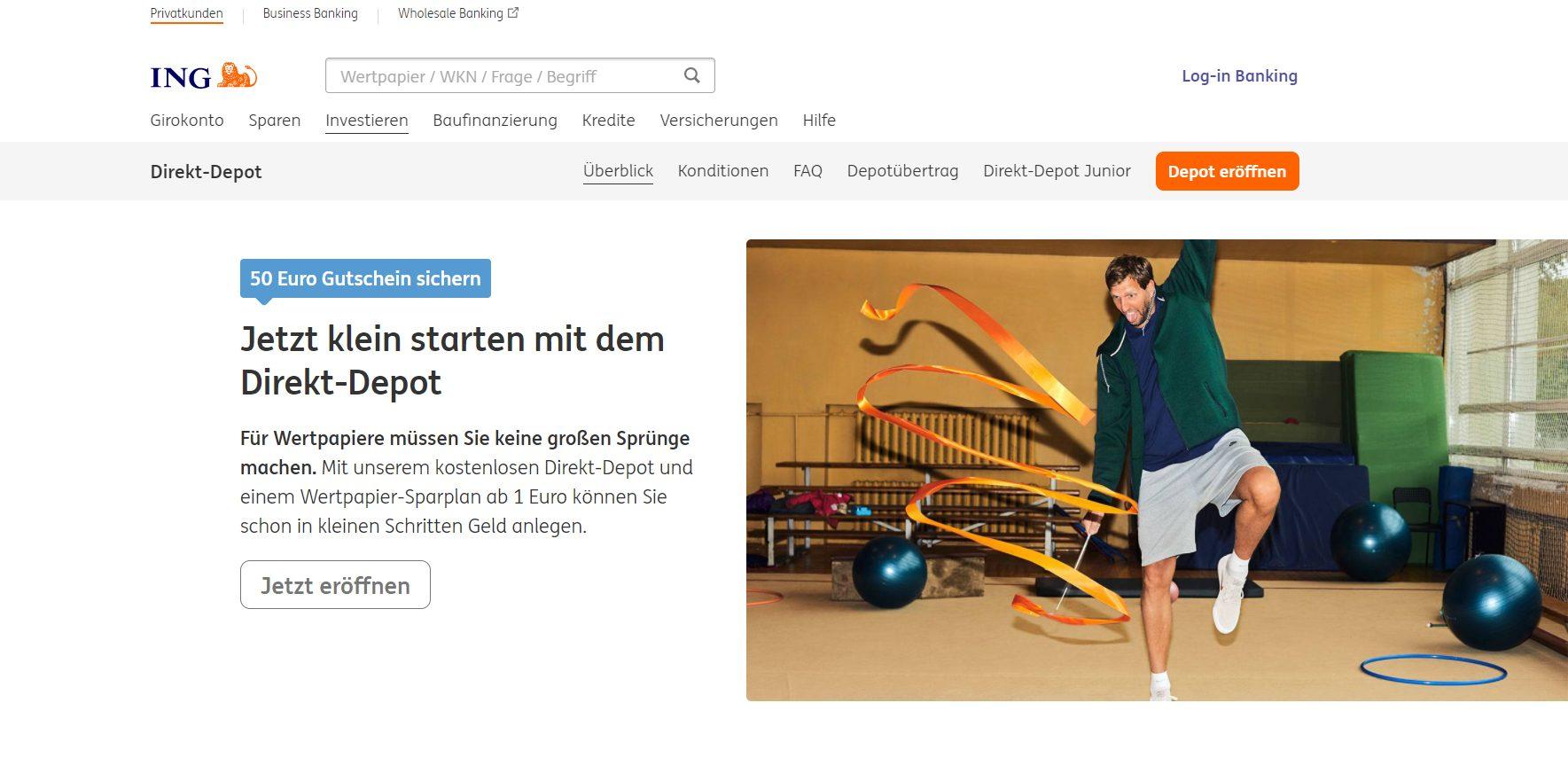 Die ING Diba Depot Webseite
