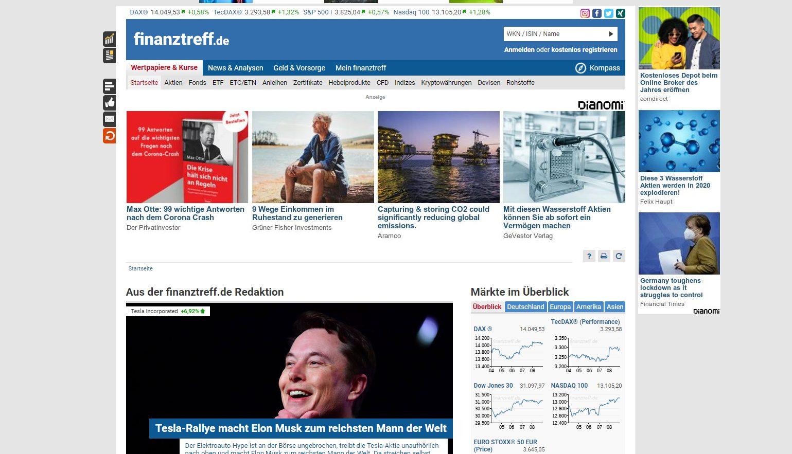 Offizielle Webseite von Finanztreff.de