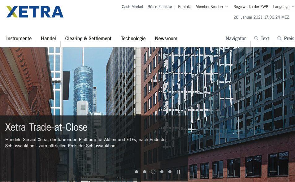 Xetra Website