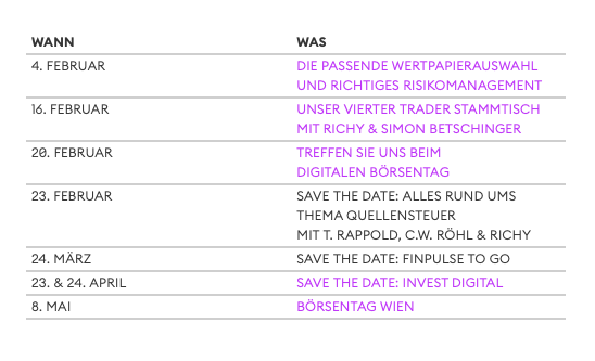 Börse Stuttgart Eventkalender